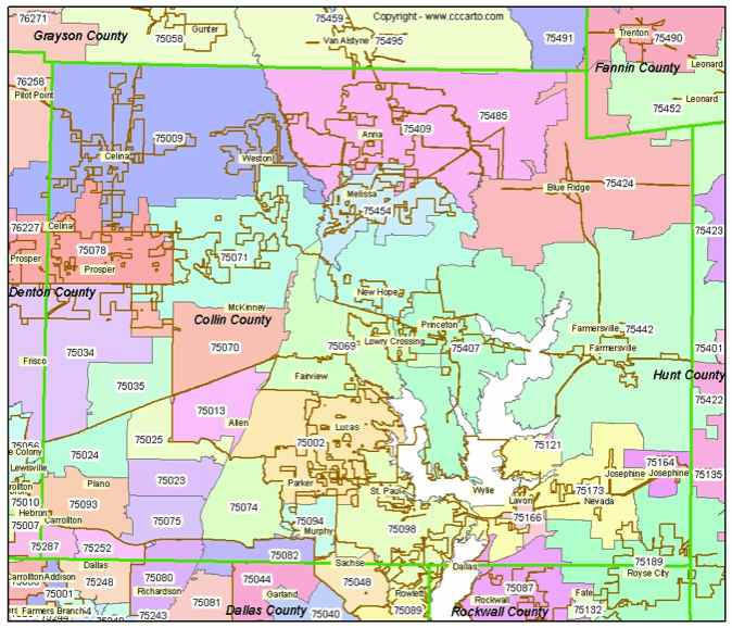 Zip Code Map Collin County | Zip Code MAP