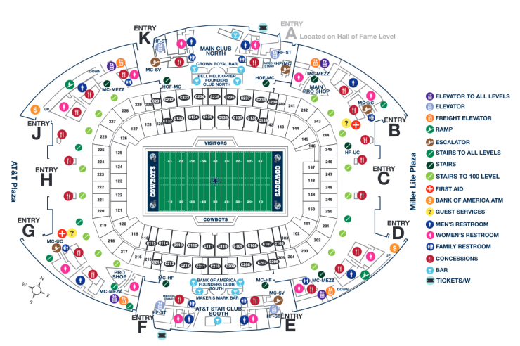 Map for football fans of AT&T Stadium.
