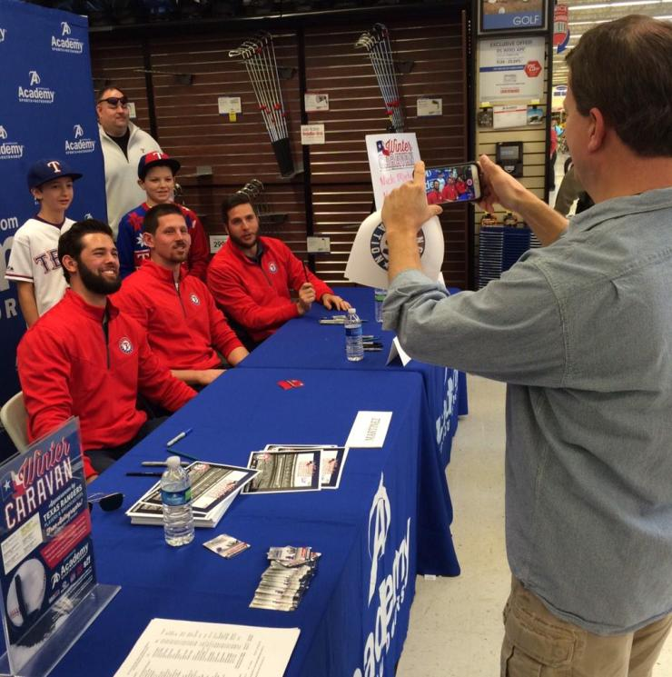 The Texas Rangers Winter Caravan rolls into McKinney TX at Academy with Nick Martinez and Shawn Tolleson. Photo - Courtesy of Texas Rangers.