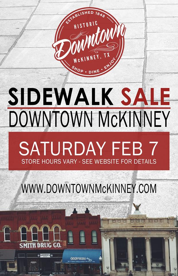 Grab a friend or two or three for the Sidewalk Sale in Downtown McKinney, Texas. ... If you are new in town, discover the cool secret everyone treasures - historic downtown McKinney. Save room for dessert. Save time for a glass of wine. Make time for dinner. Start early with breakfast. Shop Local. Shop Often - Brian Bearden