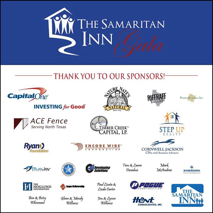 The Samaritan Inn Gala will be Feb. 7 at the      InterContinental Dallas Hotel at 15201 Dallas Parkway.