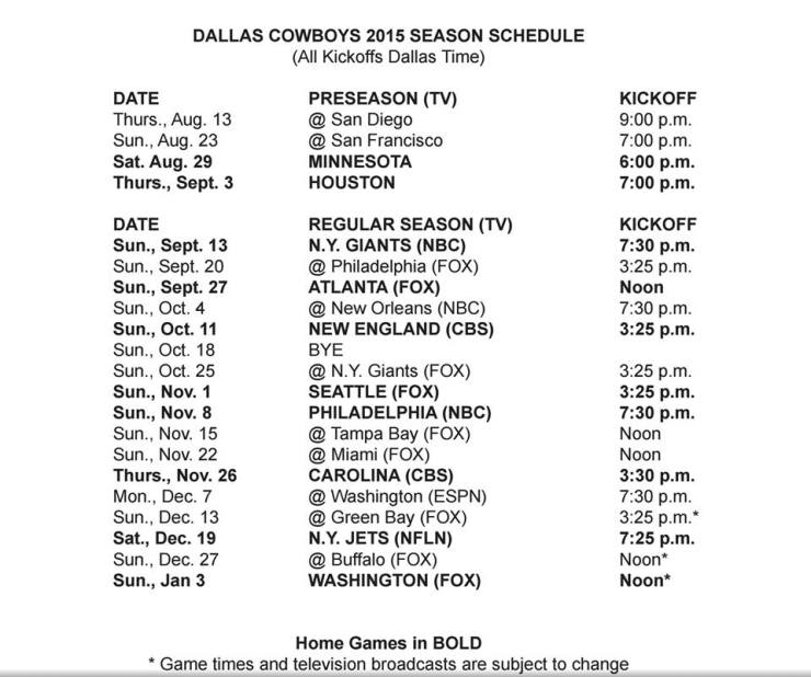 Dallas Cowboys 2015 schedule