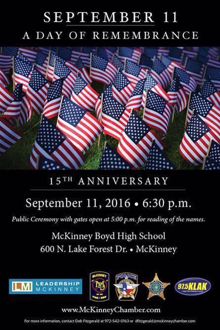 Remember 911 and pass on the story by attending McKinney's 911 Remembrance on Sunday, Sept. 11 at McKinney Boyd High School