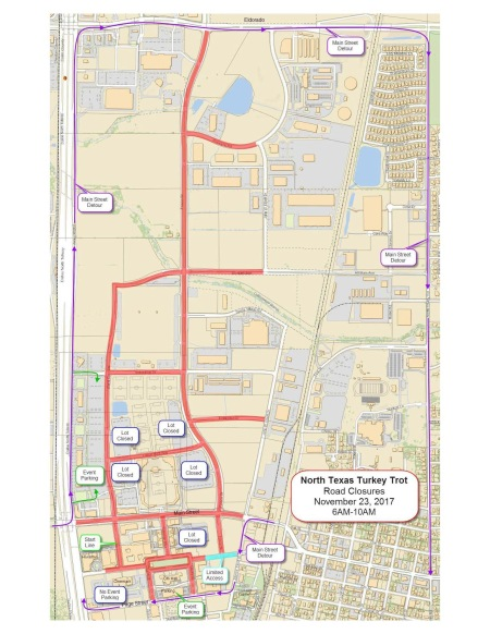 North Texas Turkey Trot Map Roadclosures COLLIN COUNTY MAGAZINE DFW - North texas map
