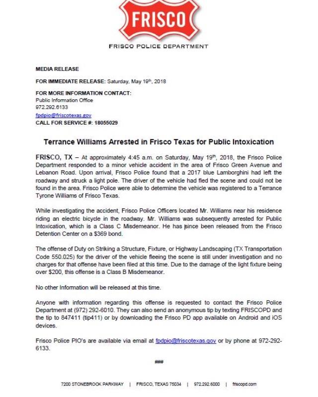 Wrecked Lamborghini For Sale: Frisco TX Police Report: Dallas Cowboy Terrance Williams